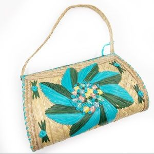 Vintage Straw Embroidered Bag Raffia Weave Flowers